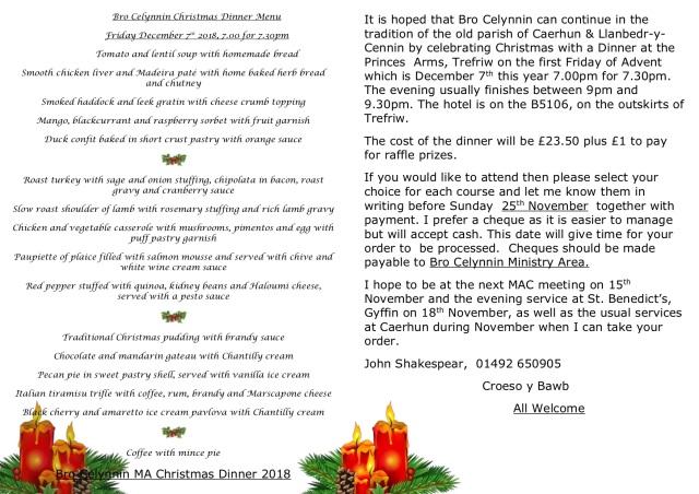 Bro Celynnin Christmas Dinner Menu 2018 2